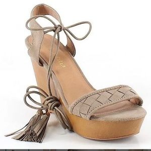 Altar'd State Tan Faux Suede Wedge Sandal